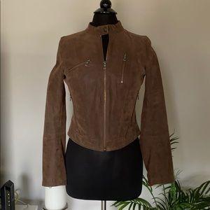 NWOT Brown Leather Levi ZIP up jacket rustic snap